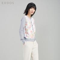 ERDOS 鄂尔多斯 E275G1002 女士复古真丝印花针织开衫 淡灰 S