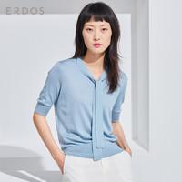 ERDOS 鄂尔多斯 E285A0101 女士纯色丝绒飘带针织T恤 桔红 L