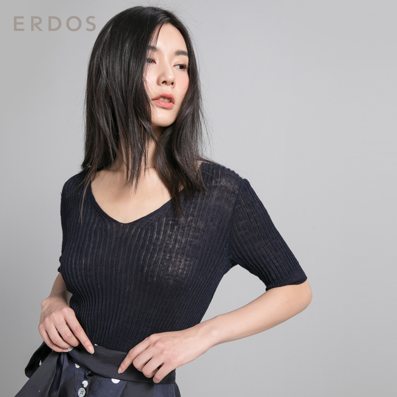 ERDOS 鄂尔多斯 E285D0046 女士V领螺纹修身亚麻半袖T恤 藏蓝 M
