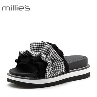 Millie's 妙丽 女士 格子布厚底套脚一字拖 LV106BT8 黑白 34
