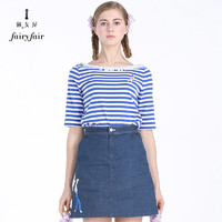 Fairyfair 淑女屋 FIAGAA3701 女士蕾丝圆领短袖条纹T恤 宝蓝白条 S