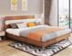 A家家具 床 现代简约板式床实木架子双人床卧室家具 1.8米床 梨木色 A1001-180