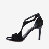 JOYPEACE 真美诗 女士羊绒皮粗跟一字式扣带时装凉鞋 YPD02BL8 黑色 36