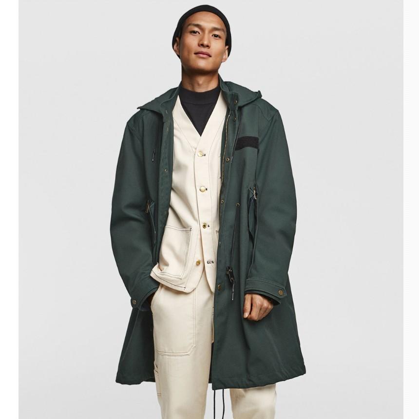 ZARA 05320352500 口袋饰纹理派克长款外套