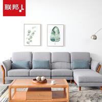 LANDBOND 联邦 DS021 日式风格实木布艺沙发