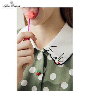 MP 骐源 女英伦复古原创馋嘴小猫咪刺绣对领波点印花修身显瘦连衣裙 18SS-DRS-09