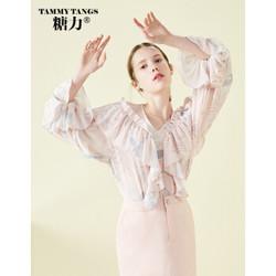 糖力2018秋装新款欧美女装宽松喇叭袖甜美荷叶边印花雪纺衫上衣 粉红 XS