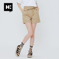 H:CONNECT 30171-151-401-52 女士系带高腰纯色短裤 焦糖色 026