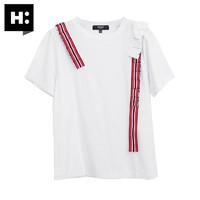 H:CONNECT 30173-131-101-06 女士圆领短袖T恤 黑色 S