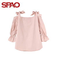 SPAO SPBW837S92 女士纯色蝴蝶结系带衬衫