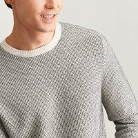 棉先生 297826030 男士芝麻点提花圆领厚款羊绒衫
