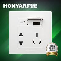 HONYAR 鸿雁 USB插口五孔插座
