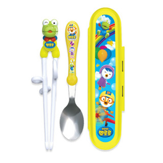 Edison Baby 爱迪生 啵乐乐系列  宝宝学习筷不锈钢勺子便携套装 *3件