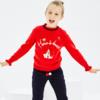 折|米喜迪mecity童专柜款女童红色毛衣字母趣味图案长袖毛衫 89.4元