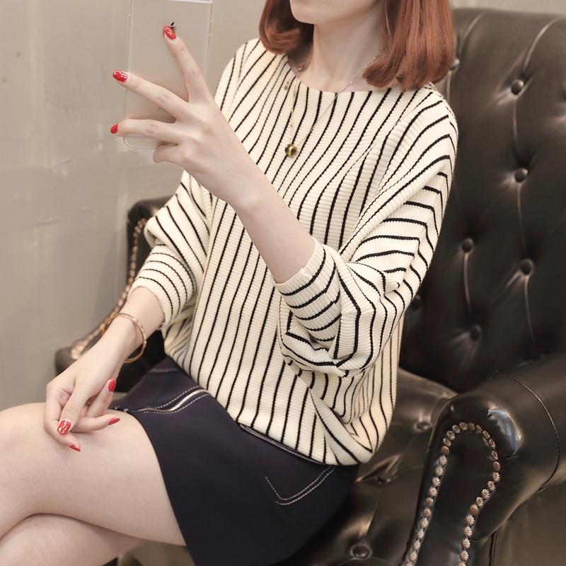 淑邑 SYB425932 女士宽松条纹套头针织衫 焦糖色 S