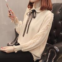 淑邑 SYD607545 女士雪纺袖蕾丝拼接假两件针织衫 白色 S