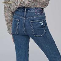 MISS SIXTY 683JJ2890000 女士绣花磨破直筒牛仔裤