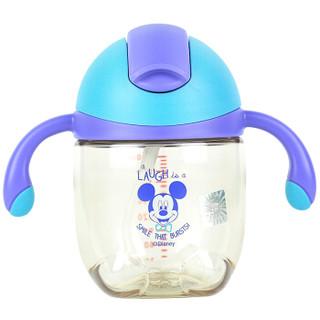 迪士尼宝宝吸管杯 PPSU儿童带手柄防漏学饮水杯壶330ML 幽蓝 *2件+凑单品