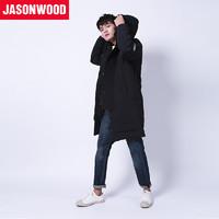 JASONWOOD 181814101 男士中长款加厚连帽羽绒服 黑色 S