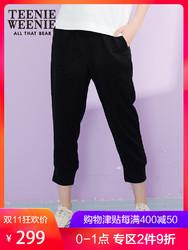 TeenieWeenie小熊2018秋装新款女装松紧休闲裤子长裤女TTTC83701A
