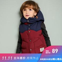 韩国童装Jelispoon吉哩熊秋款女童男童外套连帽时尚厚马甲