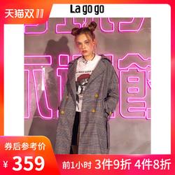 Lagogo 拉谷谷 2018秋季新款欧式复古条纹翻领风衣外套上衣女