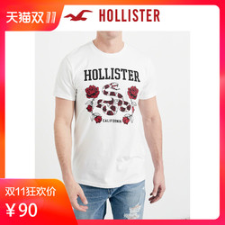 Hollister 208757 2018年夏季新品玫瑰Logo图案短袖T恤 男