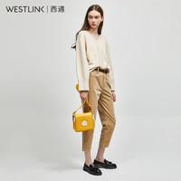 westlink 西遇 11980899 女士高腰复古灯芯绒直筒裤
