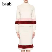 b+ab 7W0640I 女士撞色针织裙套装