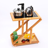百鸿茶车可移动茶台竹制品带轮简易茶盘茶桌茶具套装电热炉家用 可折叠茶车款式1