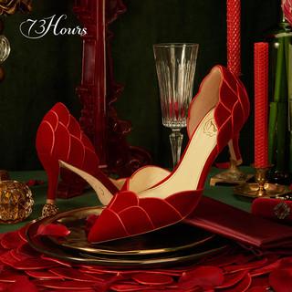高跟73小时 蔷薇少女 花瓣丝绒浅口高跟鞋