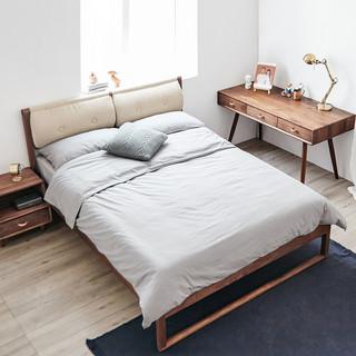 及木家具 CC002 方圆 实木双人床 美国红橡 1500*2000mm