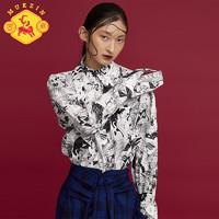 MUKZIN 密扇 E7227201 手绘印花长袖上衣女密扇衬衫