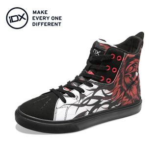 IDX 爱定客 双面 男士手绘高帮帆布鞋