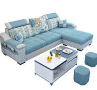 紫茉莉 简约现代布艺沙发 海绵版组合(三位 脚踏 黑白茶几)