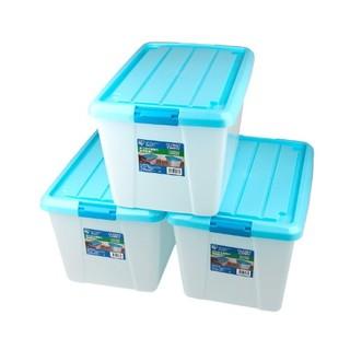 IRIS 爱丽思 Closet Carry滑轮整理箱收纳箱(蓝盖)55 x 38 x 33cm 【三个】