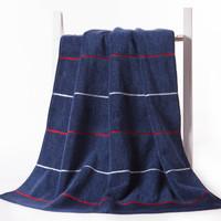 金号 毛巾家纺 纯棉花式线提缎质感浴巾 单条装 蓝色 420g 140*75cm