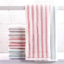 馨牌 毛巾家纺 经典条纹纯棉毛巾强吸水 绿色/红色/咖色 三条装 *3件