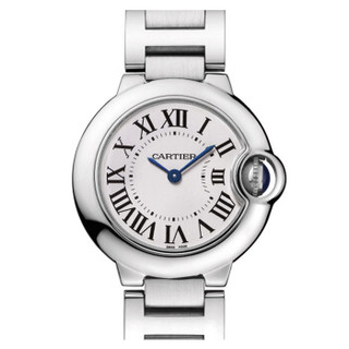 Cartier 卡地亚 BALLON BLEU DE CARTIER腕表系列 W69010Z4 女士石英手表 28mm 白盘 银色精钢带 圆形
