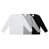 木白巾极简 碳素磨毛纯棉厚实长袖T恤(白色)S码 300克重磅
