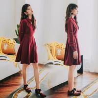 AnneChen 安妮陈 YTQ8687 中长款长袖文艺裙子 红色