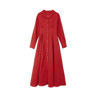 AnneChen 安妮陈 YZQ8912 红色法式气质复古中长款长袖打底裙 S码