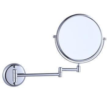 SCNDEWMY 美容镜壁挂化妆镜铜 可折叠收缩旋转活动镜 双面放大梳妆镜浴室镜子 (铬色圆底)