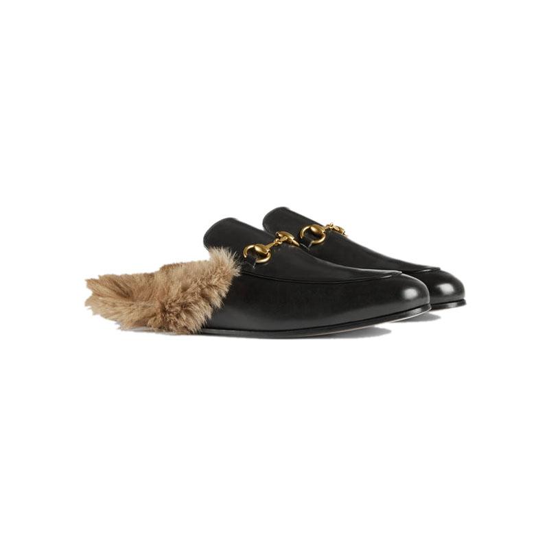 GUCCI 古驰 Princetown系列 男士时尚皮革羊毛拖鞋