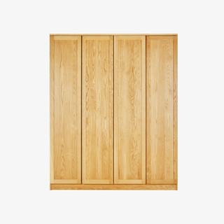 homerus 禾描 HM4520011ygV2 极简平开门实木衣柜 白橡木 2.1m*3门