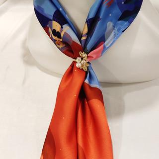 优雅博物馆 珍珠大理石丝巾扣 珍珠金花