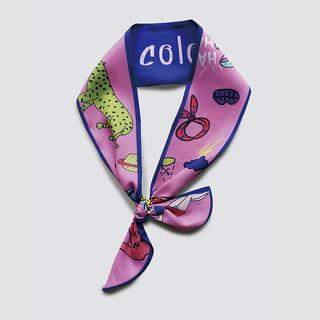 优雅博物馆 甜美森女系欧美复古小领巾 粉蓝色