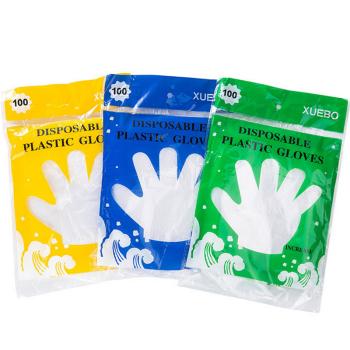 一次性手套食品餐饮美发薄膜透明加厚塑料夏天剥龙虾手套手膜 300个装