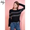 Lily冬新款女装时尚撞色细条纹侧系带圆领毛衣117440B8725 129元(需用券)