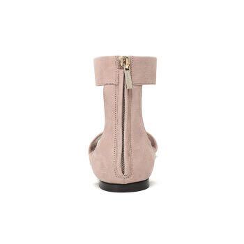JIMMY CHOO 周仰杰 女士芭蕾粉色绒面皮革平底凉鞋 BETHEL FLAT SUE 181 BALLET PINK 38码